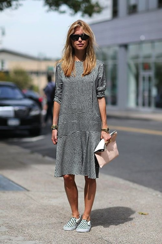 2-Le-Fashion-Blog-15-Ways-To-Wear-Checkered-Van-Slip-On-Sneakers-Pernille-Street-Style-Gingham-Dress-Via-Harpers-Bazaar