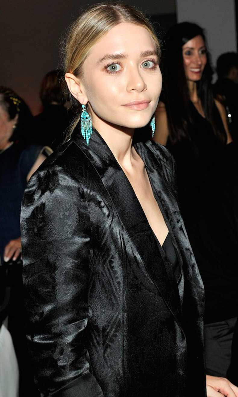 Olsens-Anonymous-Blog-Ashley-Olsen-Turquoise-Chandelier-Earrings-Hammer-Musems-Gala-In-The-Garden-Event-Sleek-Hair-Embroidered-Satin-Jac