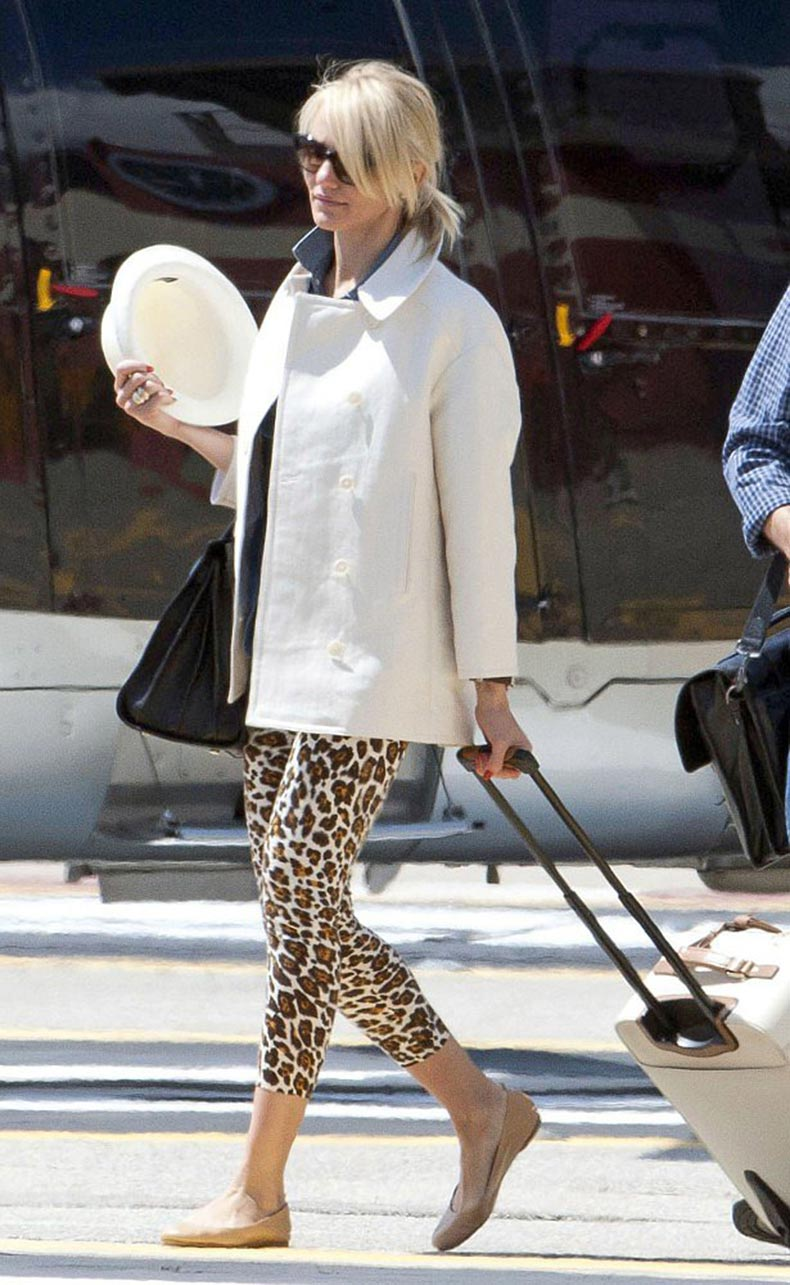 Chances-Cameron-Diaz-leopard-print-pants-sleek-white-coat