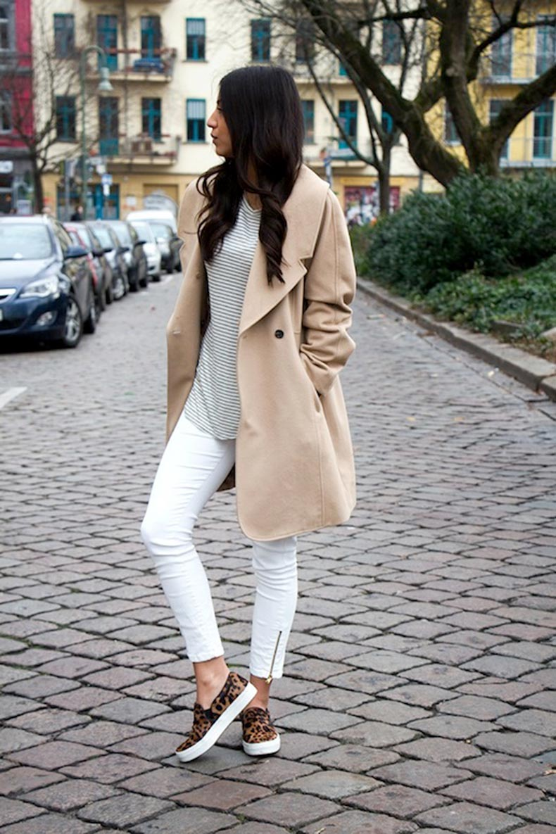 27-Le-Fashion-Blog-30-Fresh-Ways-To-Wear-White-Jeans-Trench-Coat-Striped-Tee-Leopard-Slip-On-Sneakers-Via-Not-Your-Standard