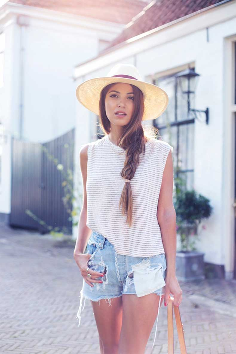 4-Le-Fashion-Blog-Long-Hair-Inspiration-Negin-Mirsalehi-Brunette-Brown-Side-Braid-Striped-Muscle-Tee-Cut-Off-Shorts