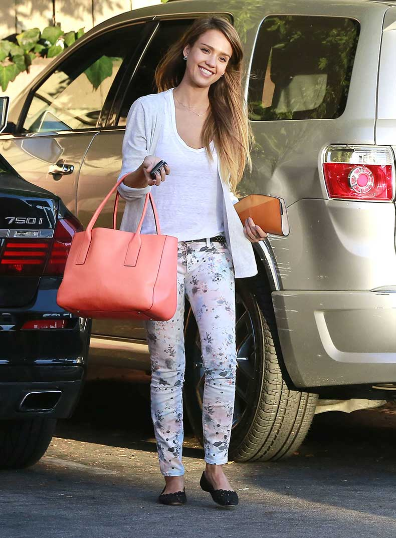 Jessica-tucked-white-tee-floral-denim-spiced-things-up