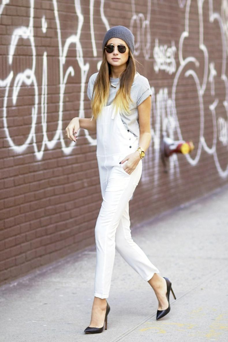 7-Le-Fashion-Blog-17-Ways-To-Wear-White-Overalls-Beanie-Grey-Tee-Black-Pumps-Via-Blogger-We-Wore-What