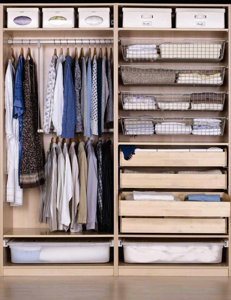 Great-Design-Ideas-for-Walk-in-Closet-With-Cabinet-Wonderful-Wooden-Storage-Wardrobe-Cabinet-From-Ikea-Wardrobe-Design-Ideas-With-Wire-Basket-Closet-Storage-In-Brushed-Stainless-Steel-Finish