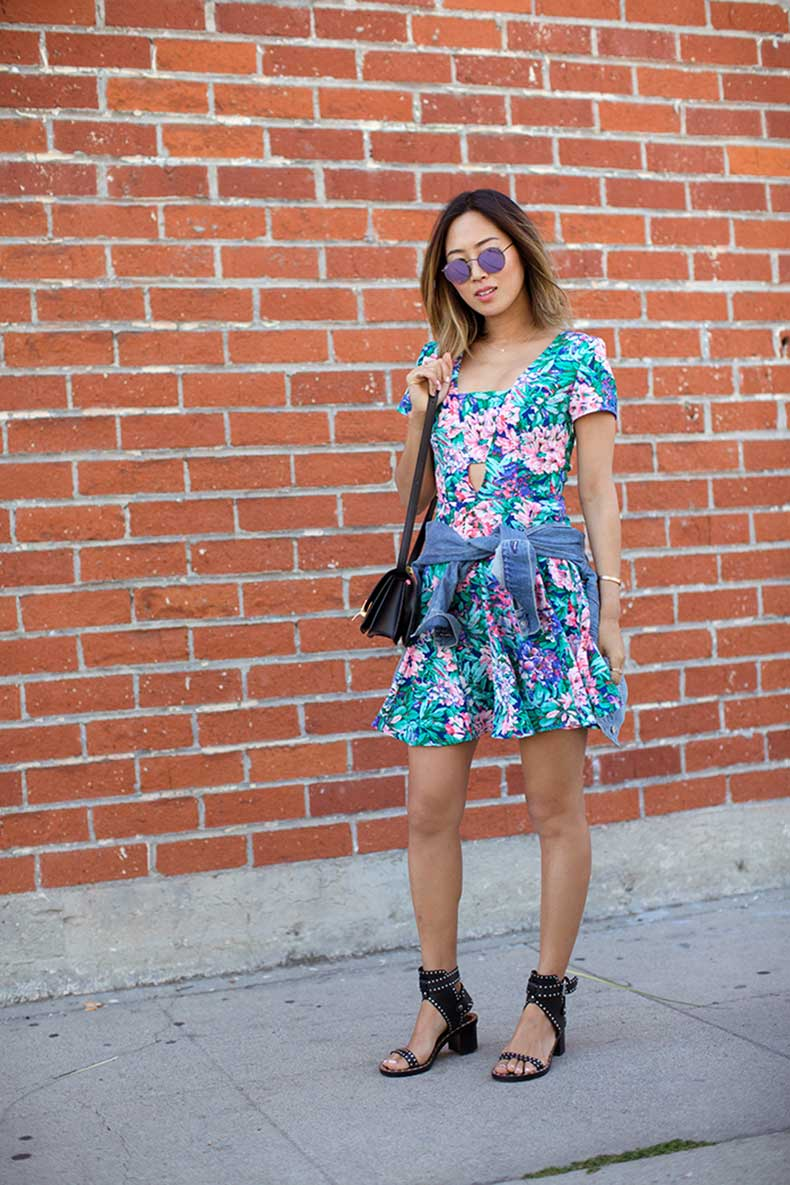 aimee_song_ray_ban_round_metal_sunglasses_floral_dress_isabel_marant_heels