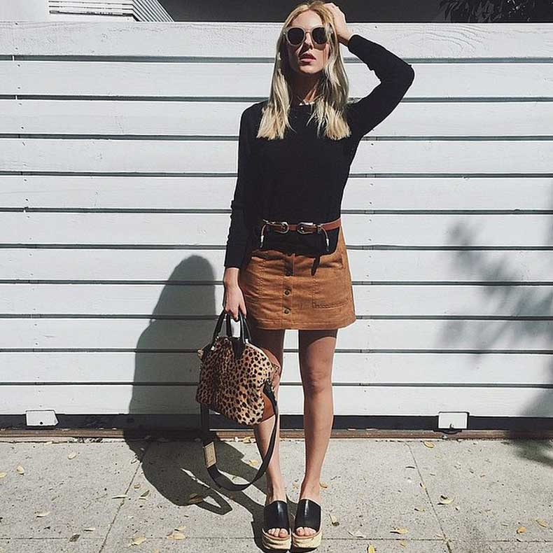 Black-Top-Tan-Suede-Skirt-Platforms-Statement-Bag