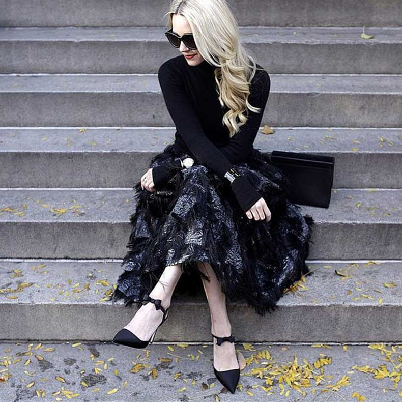 Long-Sleeved-Shirt-Full-Skirt-Ankle-Strap-Heels