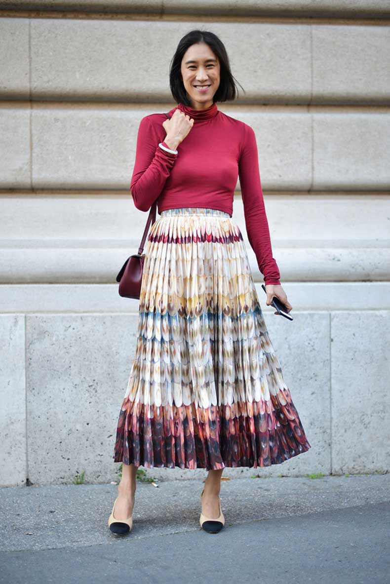 Eva-Chen-added-chic-finish-her-pleated-maxi-hers