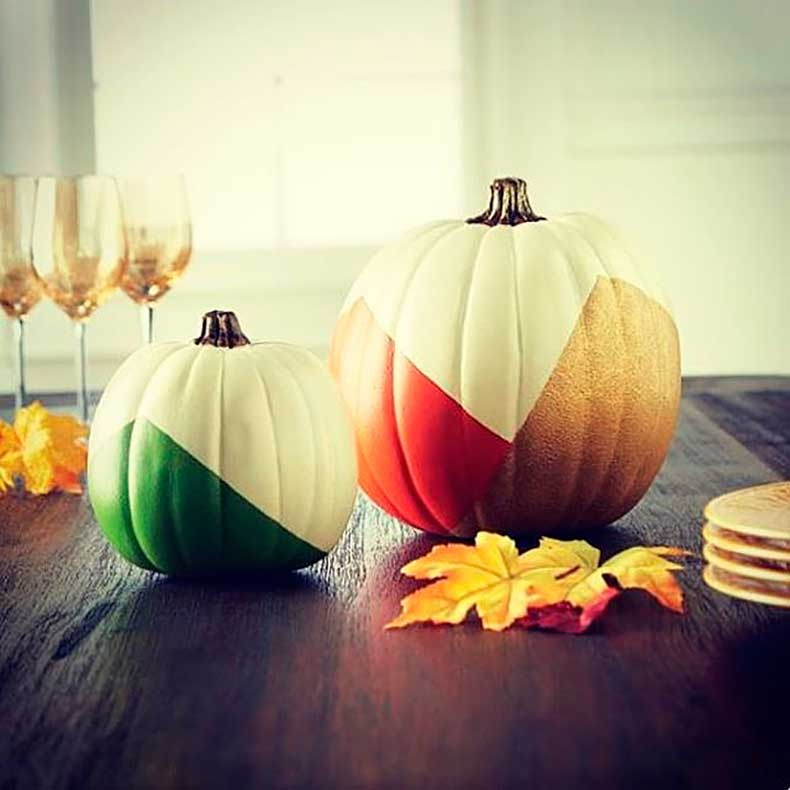 Martha-Stewart-would-proud-colorblock-pumpkins