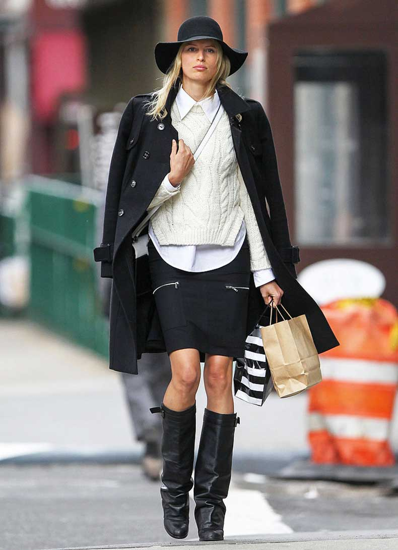 Karolina-Kurkova-layered-up-white-collared-blouse-ivory