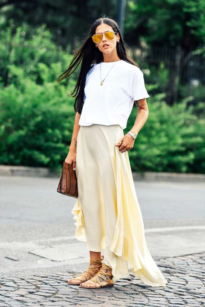 Le-Fashion-Blog-Casual-Chic-Summer-Street-Style-Mirrored-Sunglasses-White-Tee-Pale-Yellow-Ruffle-Maxi-Skirt-Lace-Up-Sandals-Via-Tommy-Ton