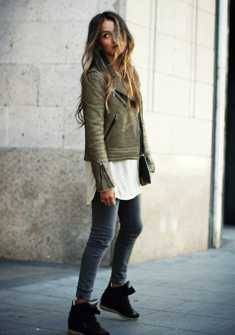 Le-Fashion-Blog-Ways-To-Wear-Green-Coat-Fall-Winter-Blogger-Style-Moto-Leather-Jacket-Tunic-Cuffed-Denim-Wedge-Sneakers-Via-Sincerely-Jules