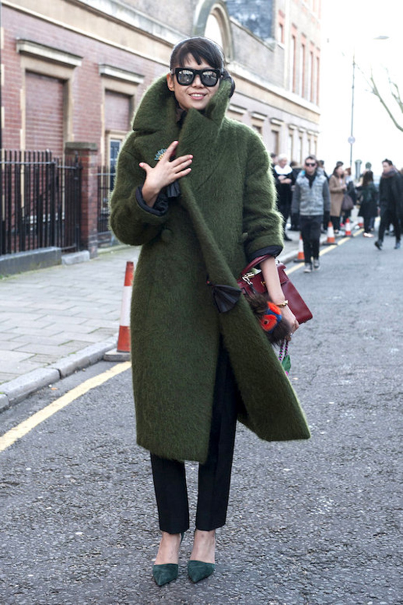 Le-Fashion-Blog-Ways-To-Wear-Green-Jacket-Fall-Winter-Street-Style-Mirrored-Sunglasses-Mohair-Coat-Pants-Suede-Pointed-Heels-Via-Pop-Sugar