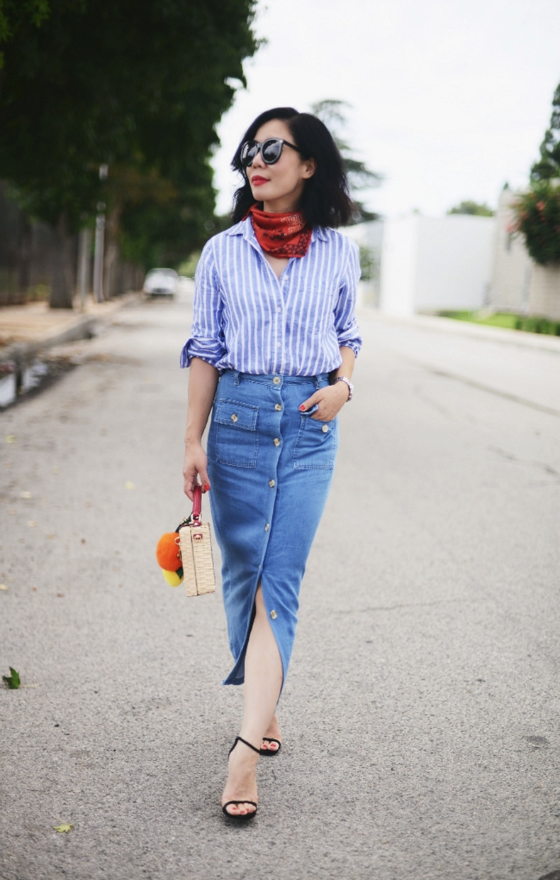 Striped-Shirt-and-Denim-Pencil-Skirt-With-Red-Silk-Scarf-Via-HallieDaily-5