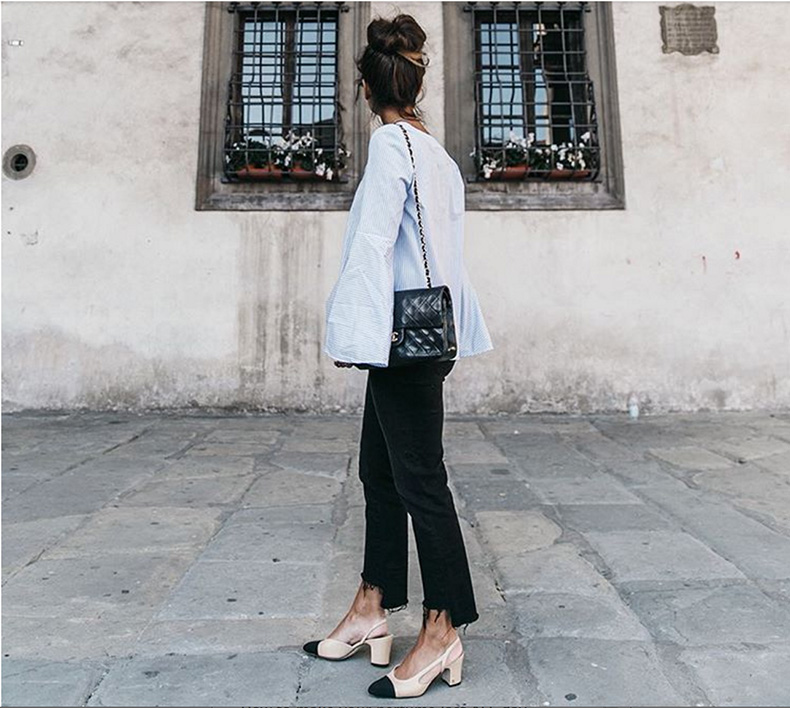 block-heels-chanel-two-tone-heels-black-skinnies-frayed-black-skinnies-wide-bell-sleeves-oversized-sleeves-cuffs-spring-work-outfit-weekend-going-out-instagram