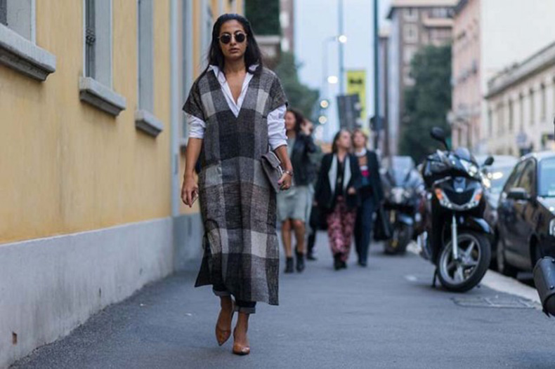 plaid-dress-cape-tunic-white-oxford-shirt-dress-over-pants-rolled-jeanspointy-toe-flats-milan-fashion-week-www-640x426