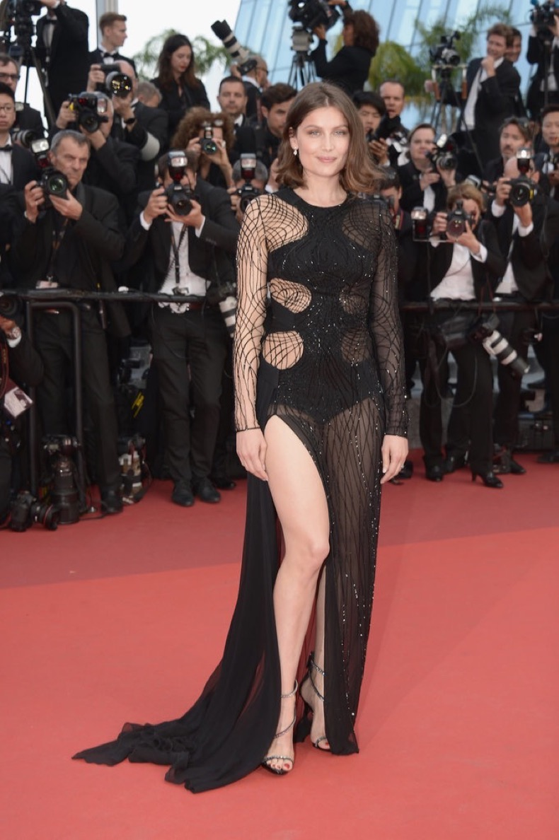 Laetitia-Casta-cutout-gown-stole-show-Unknown-Girl