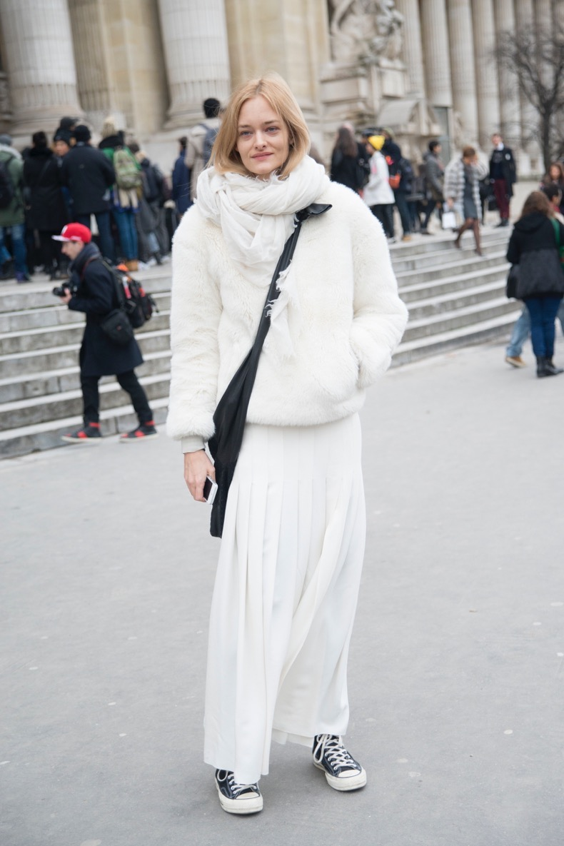 PARIS, FRANCE - JANUARY 27: Model Nadine Strittmatter wears an Alexander Wang skirt and Converse Trainers on day 3 of Paris Haute Couture Fashion Week Spring/Summer 2015, on January 27, 2015 in Paris, France. (Photo by Kirstin Sinclair/Getty Images)