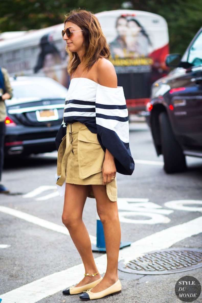 Le-Fashion-Blog-Street-Style-Weekend-Look-Sunglasses-Striped-Off-The-Shoulder-Top-Deconstructed-Skirt-With-Belt-Anklet-Cap-Toe-Chanel-Flats-Via-Style-Du-Monde