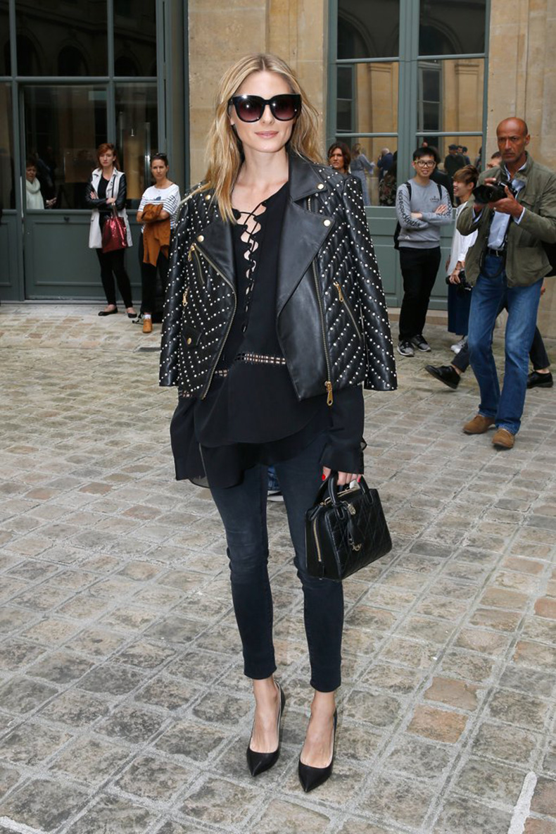 Olivia-Wore-Embellished-Leather-Jacket-Lace-Up-Top-Jeans-Pumps