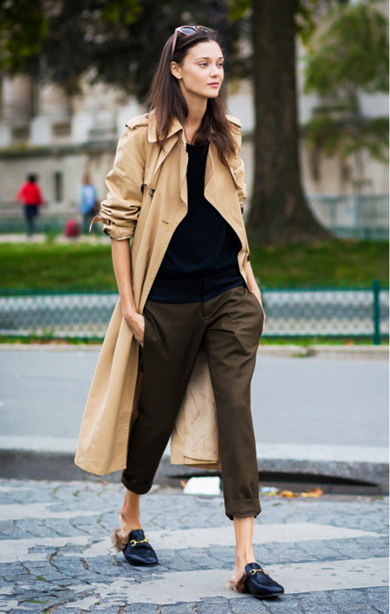 kahkis-trench-coat-duster-coat-gucci-fur-mules-gucci-loafers-army-pants-fal-lneutrals-weekend-work-style-du-monde