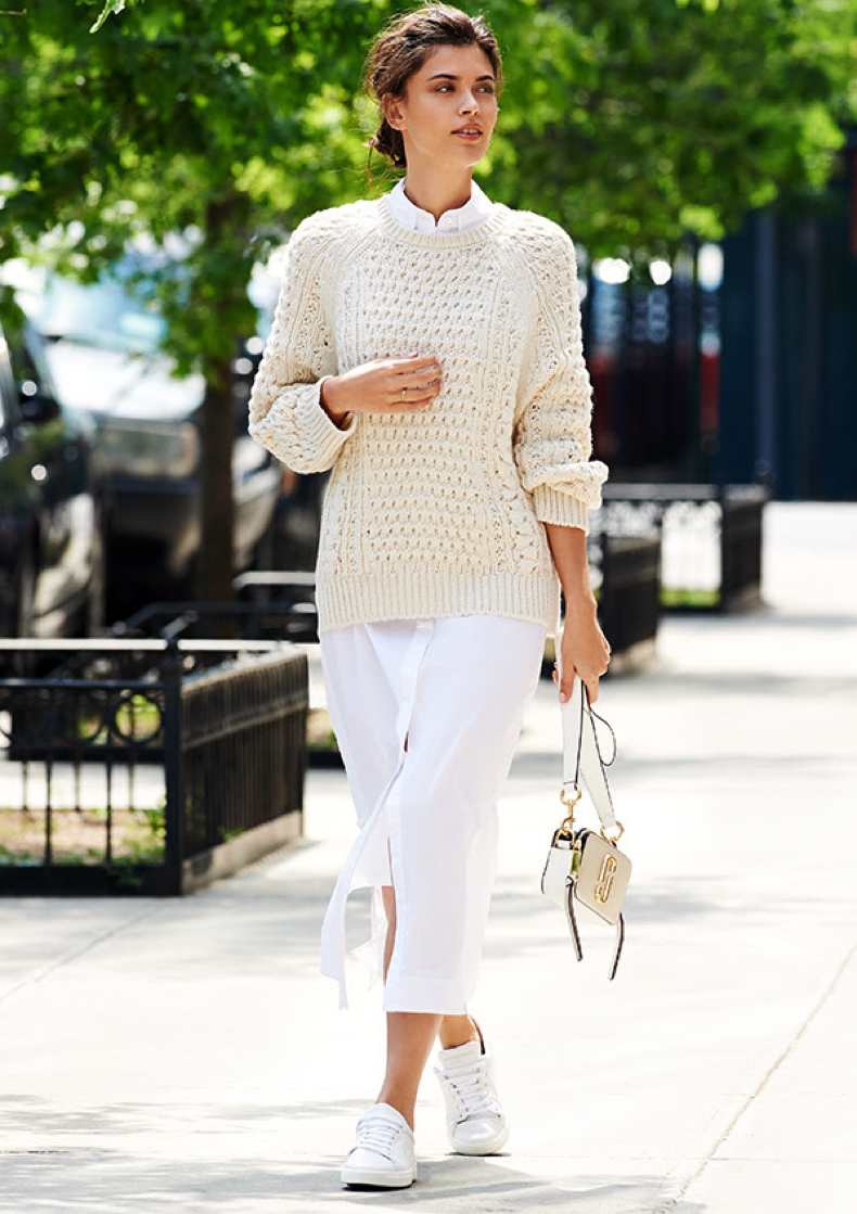 fall-work-outfits-fisherman-sweater-dresses-and-sneakers-all-white-shirtdress-shirt-dress-what-to-wear-to-work-summer-to-fall-dressing-shopbop