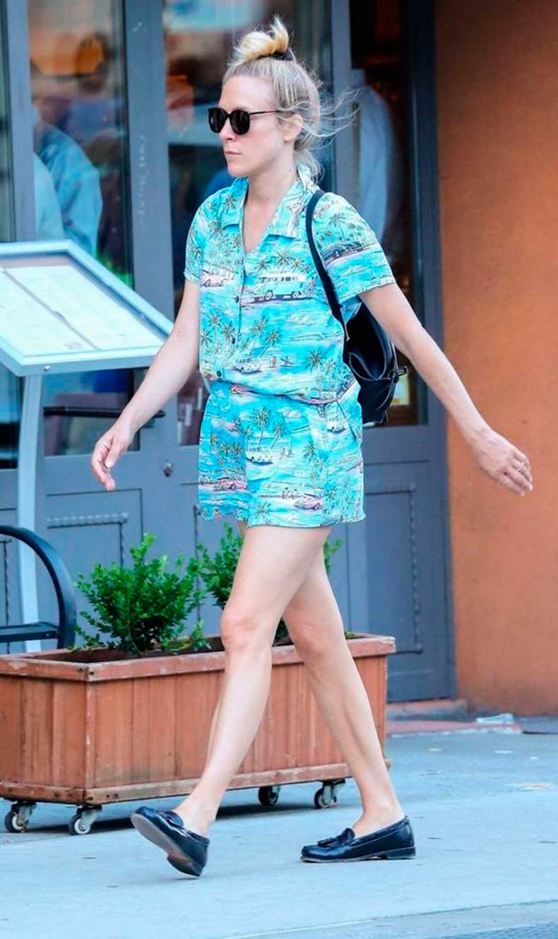 chloe-sevigny-printed-romper-and-loafers