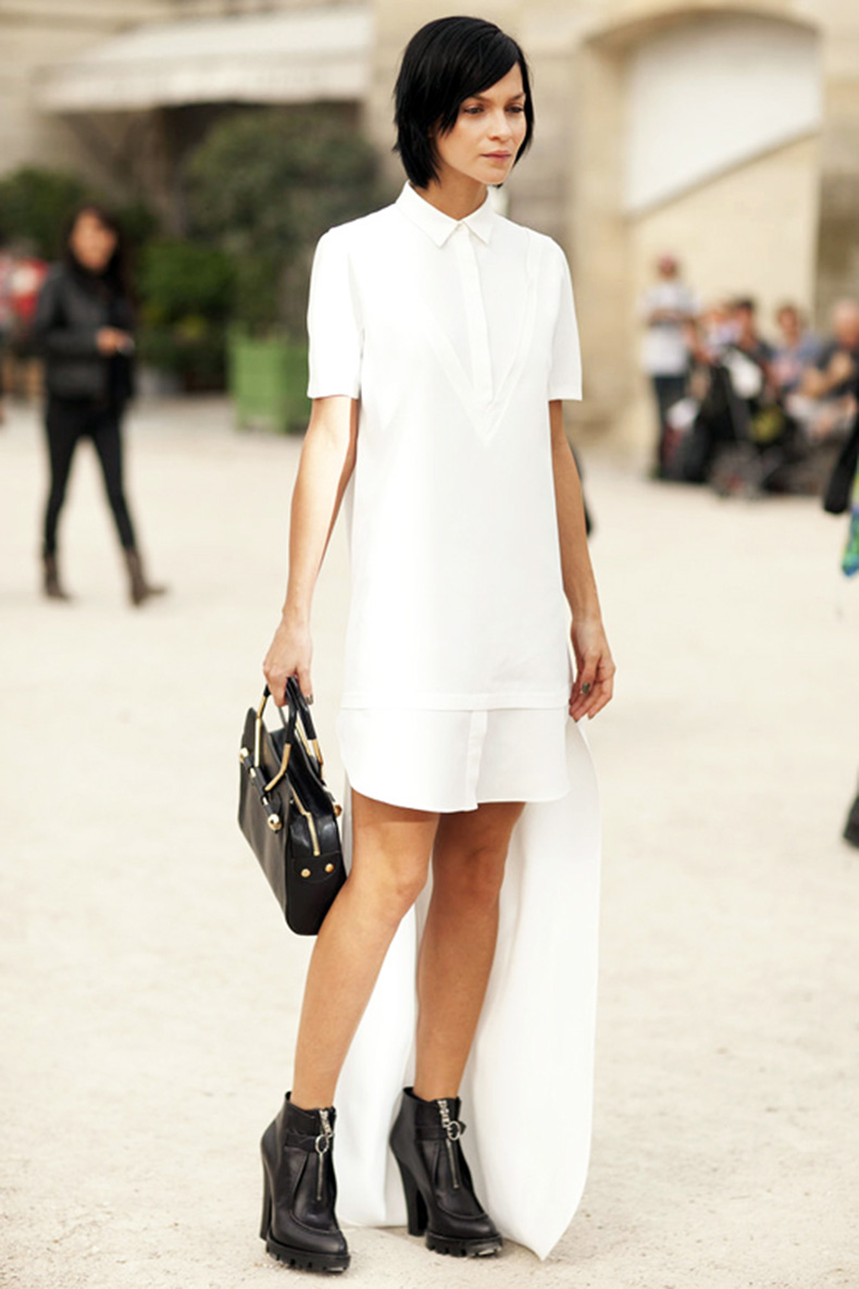 le-fashion-blog-street-style-pfw-leigh-lezark-white-shirtdress-top-handle-bag-black-zip-front-ankle-boots-via-popsugar