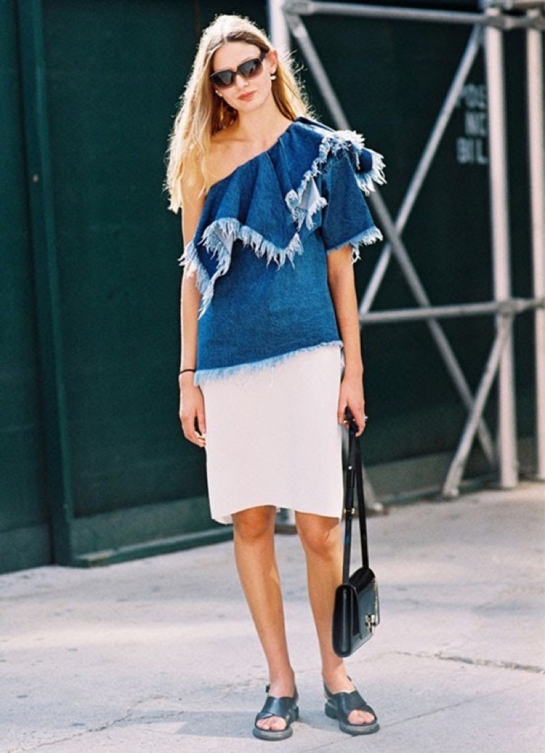 summer-pencil-skirt-white-one-shoulder-denim-fray-top-ruffle-black-sandals-slides-via-vanessa-jackman